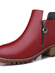 Women's Boots Fall Fashion Boots Leatherette Wedding / Party & Evening / Dress Low Heel Others Black / Burgundy Others