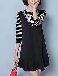 Women's Plus Size / Casual Street chic Sheath DressSolid / Striped Round Neck Above Knee Long Sleeve Spring / FallMid