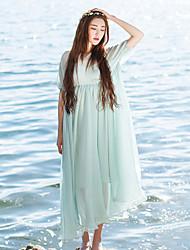 Ample Robe Femme Décontracté / Quotidien simple,Couleur Pleine Col Arrondi Mi-long ½ Manches Bleu Polyester Eté Taille NormaleNon