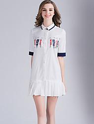 Eosciy® Damen Hemdkragen Kurze Ärmel Mini Kleid-80201