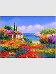 Ручная роспись Пейзаж / Цветочные мотивы/ботанический / Абстрактные пейзажи Картины маслом,Modern / Пастораль / Европейский стиль 1 панель