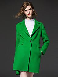 frmz mulheres que saem meio simples coatsolid entalhe lapela manga longa outono / inverno vermelho / verde lã / poliéster