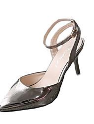 Damen-High Heels-Lässig-Lackleder-StöckelabsatzSilber