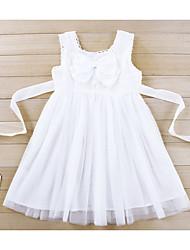 Vestido Chica de-Noche-Floral-Acrílico-Todas las Temporadas-Blanco
