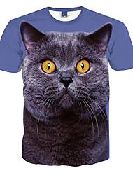 Masculino Camiseta Poliéster Estampado Manga Curta Casual / Formal / Esporte-Azul