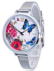 Women/Lady's Gold/Silver Steel Thin Band Butterfly White Round Case Analog Quartz Fashion Watch