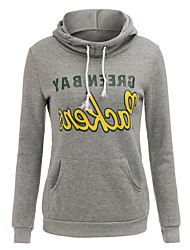 Damen Standard Hoodies-Lässig/Alltäglich / Sport Street Schick / Aktiv Buchstabe Grau Mit Kapuze Langarm Polyester Frühling / Herbst