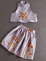 De las mujeres Sofisticado Formal Verano Conjunto Falda,Cuello Alto Estampado Sin Mangas Poliéster Morado Medio