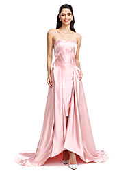 TS Couture Formal Evening Dress - Celebrity Style A-line Sweetheart Asymmetrical Stretch Satin with Pleats