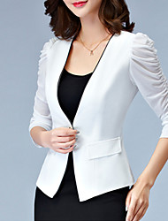 Women's Solid White / Black Blazer,Plus Size / Simple Round Neck ¾ Sleeve