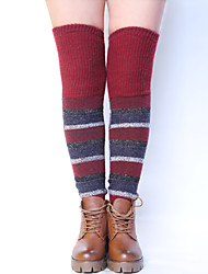 Women's Winter Knitting Warm Wool Over The Knee Stripe Leg Warmers