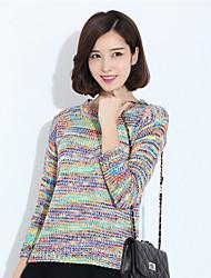 Women's  Regular PulloverRainbow Multi-color Round Neck Long Sleeve Polyester Fall / Winter Medium