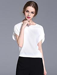 frmz Frauenarbeit einfache Sommer blousesolid Rundhals Kurzarm weiße Polyester Medium