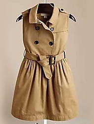 Girl's Casual/Daily Solid DressCotton Summer Brown
