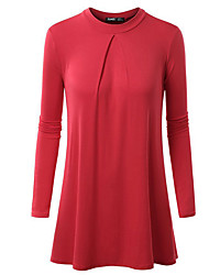 Damen Solide Einfach / Street Schick Lässig/Alltäglich T-shirt,Rundhalsausschnitt Frühling / Herbst LangarmBlau / Rot / Weiß / Schwarz /