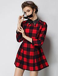 Trapèze Robe Femme Sortie Vintage,Damier Col de Chemise Mini Manches ¾ Rouge Coton Automne Taille Normale Non Elastique Moyen