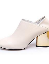 Красный / Белый-Женский-Для прогулок-Кожа-На толстом каблуке-Ботинки-Ботинки