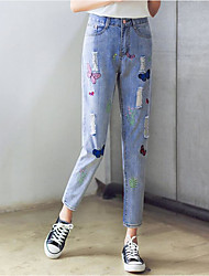Women's Geometric Blue Jeans PantsSimple Spring / Summer