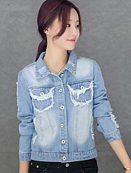 Giacche di jeans Da donna Casual Semplice Primavera / Autunno,Con stampe Colletto Altro Blu Manica lunga Medio spessore