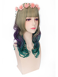 Lovely Long Water Wave Wigs Heat Resisitant Fiber Lolita Style
