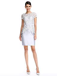 Cocktail Party Dress Sheath / Column Bateau Knee-length Lace / Satin with Lace / Sash / Ribbon