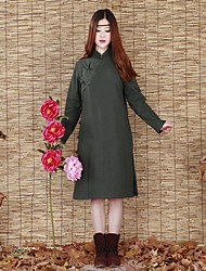 Manteau Rembourré Femme,Long Chinoiserie Décontracté / Quotidien Couleur Pleine-Coton Coton Manches Longues Vert Mao