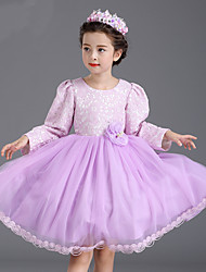 A-line Knee-length Flower Girl Dress - Cotton / Lace / Tulle Long Sleeve Jewel with Flower(s) / Sash / Ribbon