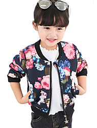 Girl's Casual/Daily Floral Jacket & CoatCotton Fall Black / Blue