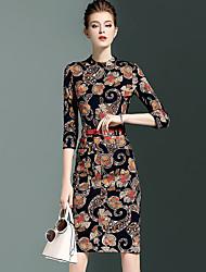 Gaine Robe Femme Sortie simple,Imprimé Col Arrondi Au dessus du genou Manches ¾ Noir Coton / Nylon / Spandex Automne Taille Normale