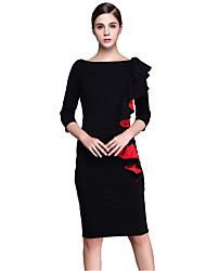 Women's Plus Size / Formal Vintage / Sophisticated Bodycon / Shift DressSolid Round Neck Knee-length  Sleeve Dress