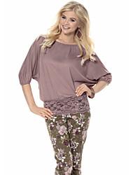Damen Solide Einfach Lässig/Alltäglich T-shirt,Rundhalsausschnitt Sommer Kurzarm Braun / Grau Baumwolle Undurchsichtig / Dünn