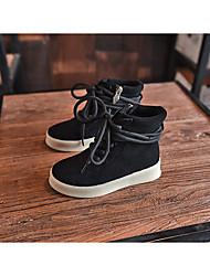 Girls' Boots Fall Cowhide Athletic Wedge Heel Black Khaki Hiking