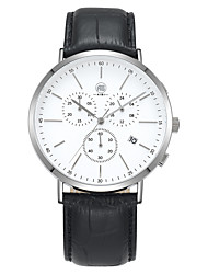 Richard Silver Case White Dial Black Leather Strap Watch