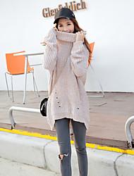 Damen Standard Pullover-Ausgehen Street Schick Solide Rot / Beige / Grau Rollkragen Langarm Baumwolle Herbst Mittel Mikro-elastisch