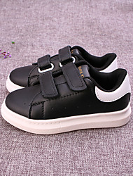 Unisex Sneakers Microfibre Fall Athletic Magic Tape Flat Heel White Black Flat