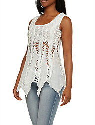 Women's Casual/Daily Sexy / Simple Cut Out Lace Hook  Irregular Summer Tank TopSolid Round Neck Sleeveless White Thin