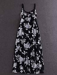 Boutique S Beach Sophisticated Sheath DressFloral Strap Maxi Sleeveless Black Silk / Polyester Summer High Rise
