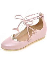 Women's Flats  Mary Jane Leatherette Dress / Casual Flat HeelApplique / Imitation Pearl / Split Joint /