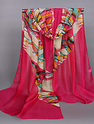 Women's Chiffon Colorful Print Scarf Fuchsia/Watermelon/Orange/Blue