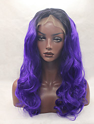 Glueless Synthetic Lace Front Wig 1b/purple Color Cheap Long Curly Top Quality Wigs