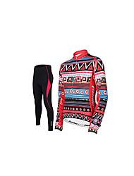 taşdan® Fahrradtrikots mit Fahrradhosen Damen Langärmelige FahhradAtmungsaktiv / Rasche Trocknung / 3D Pad / Reflexstreiffen / Tasche auf