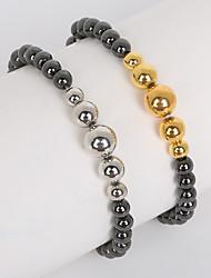 Beadia 1Pc 6mm Non-Magnetic Hematite Beads & 6/8/10mm Metallic Color CCB Plastic Beads Strand Bracelet(19cm)