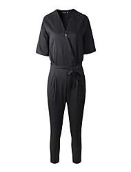Women's Solid Blue / Black JumpsuitsVintage V Neck Short Sleeve