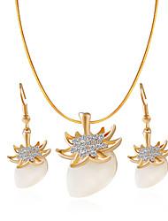 /Necklace/Earrings/Opal/Golden