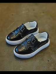 Unisex Flats Fall Flats Leather Outdoor / Casual Flat Heel Rivet Black / White Walking