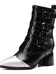 Mujer-Tacón Robusto-Tacones / Puntiagudos / Botas a la Moda-Botas-Oficina y Trabajo / Casual-Semicuero-Negro / Gris