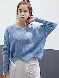 Damen Kurz Pullover-Ausgehen Street Schick Solide Blau / Weiß Rundhalsausschnitt Langarm Baumwolle Herbst Mittel Mikro-elastisch