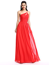 TS Couture® Formal Evening Dress A-line One Shoulder Floor-length Chiffon with Side Draping / Ruching