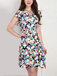 Feminino Bainha Vestido,Trabalho / Tamanhos Grandes Simples / Moda de Rua Estampado Decote Redondo Acima do Joelho Manga Curta Branco