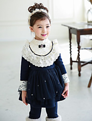 Girl's Casual/Daily Patchwork DressCotton Winter / Fall Black / Red